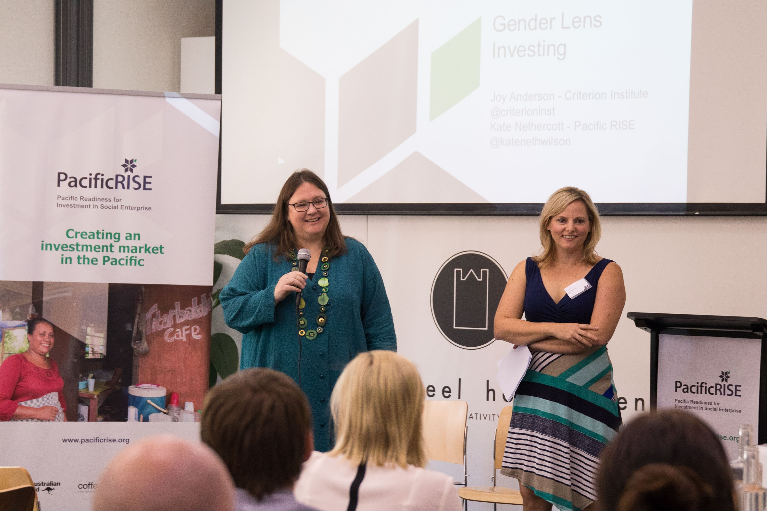 Joy Anderson (Criterion Institute) and Kate Nethercott Wilson (Pacific RISE's gender adviser) introducing gender lens investing to attendees of the Pacific RISE launch.